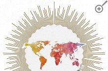 Watercolor world maps