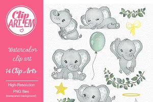 Gray elephant clipart with 14 styles