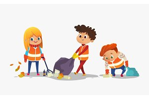 Kids gathering garbage for recycling