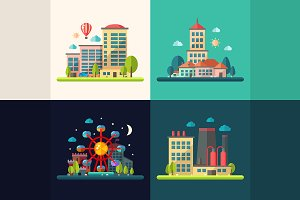 Four Cityscape Compositions Set