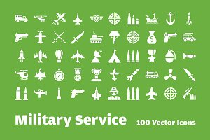 100 Military Service Vector Icons