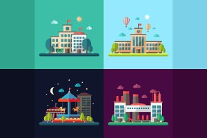Four Cityscapes Flat Design Set