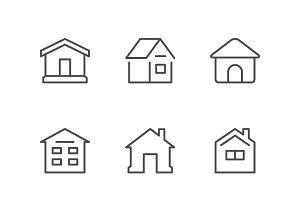 Set line icons of house