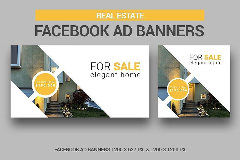 Real Estate Facebook Ad Banners Creative Photoshop Templates Creative Market