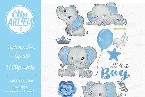 Baby blue elephant its a boy clipart
