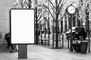 Black and white billboard mockup