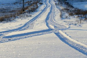 Track on a snow-covered road