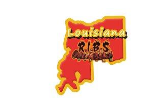 Lousiana Ribs Logo Template