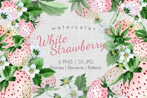 White Strawberry PNG watercolor set