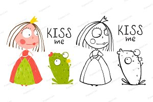 Baby Princess and Frog Kiss
