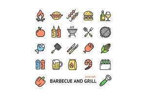 Bbq Signs Thin Line Icon Set.