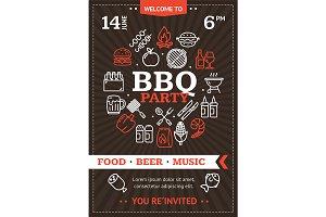 Bbq Party Invitation Round Design