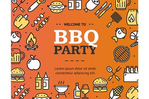 Bbq Party Design Template Thin Line