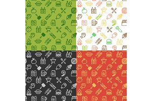 Bbq Party Pattern Background Set.