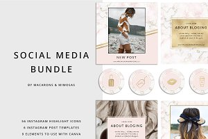 56 Pink Marble Instagram Icons