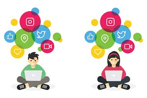 Boy and Girl Browse Social Media