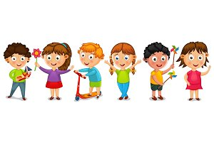 Funny cartoon kids isolated