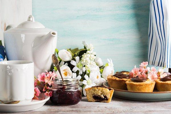 Food Stock Photos: Life Morning Photography - Cakes with frangipane, cherry jam an