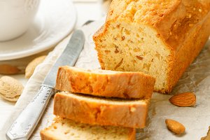Sliced pound cake with almonds
