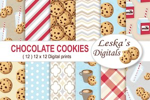 Milk and Cookies Digital Paper