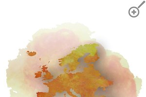 Watercolor Europe map