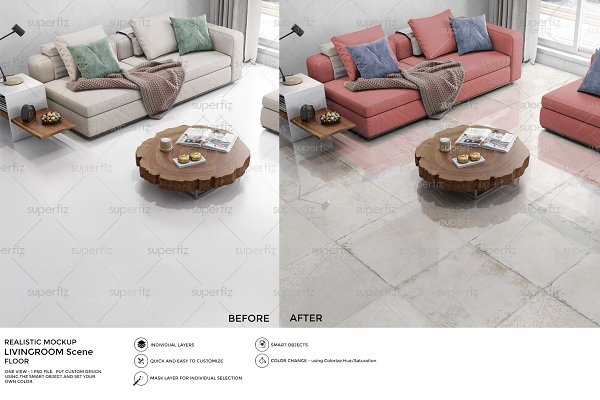 Floor Mockup Livingroom Scene SM28