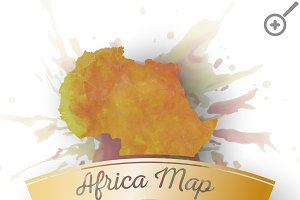 Watercolor Africa map