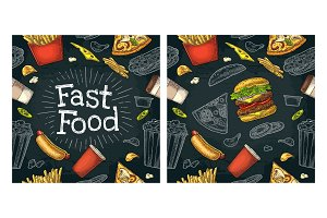 Seamless pattern fast food.