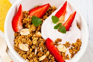 Strawberry Granola and Yogurt
