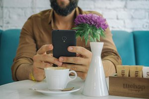 smartphone with coffee