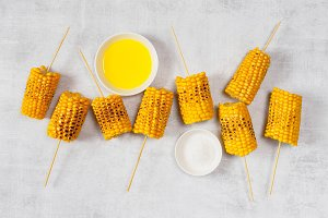 Grilled sweet yellow corn