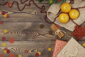 Christmas background - vintage wood