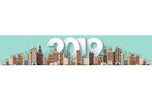 2019. Winter urban landscape. City