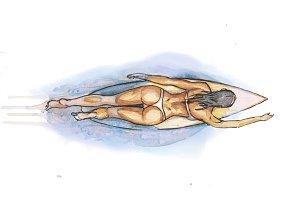 a girl swims on a surfbord
