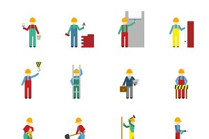 Builders flat color icon set
