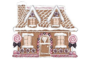 Illustrated Gingerbread House