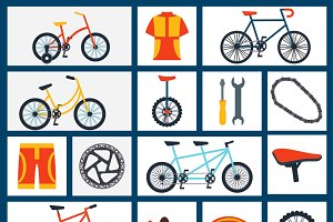 Bicycles accessories flat icons set