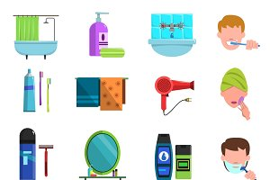 Personal care accessories icons
