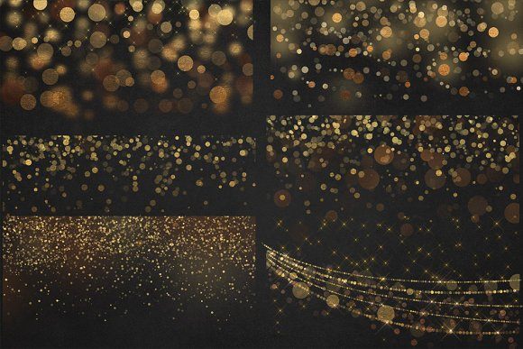 Gold Bokeh Overlays in Illustrations - product preview 1