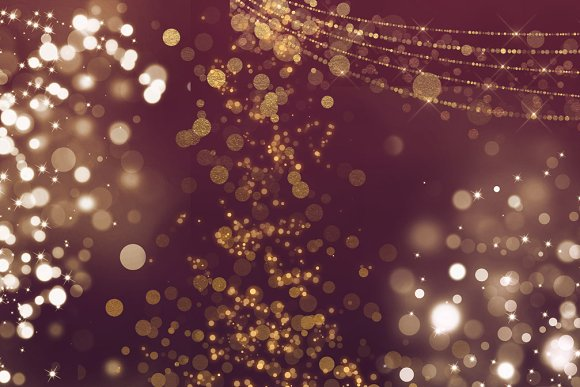 Gold Bokeh Overlays in Illustrations - product preview 2