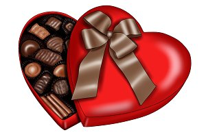 Illustrated Heart Box of Chocolates