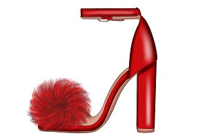 Red Fur Heel Clipart