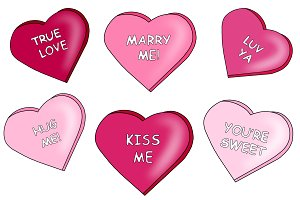 Heart Candy Clipart with Messages!