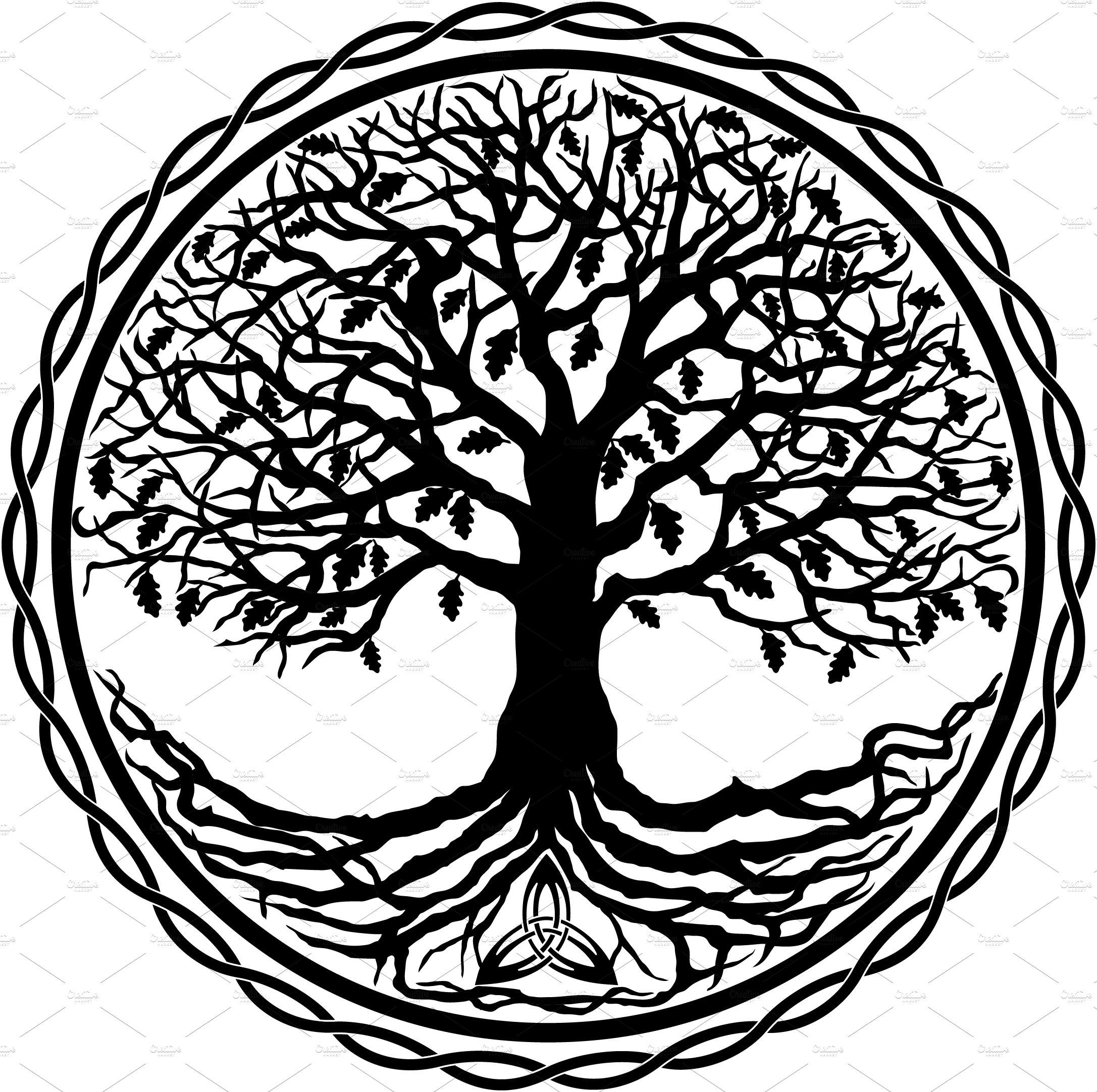 Celtic Tree of Life Silhouette ~ Illustrations ~ Creative ...