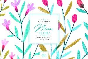 Neon Flora Clip art set