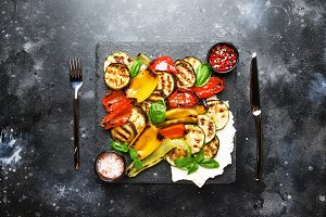 Grilled multicolored vegetables, aub