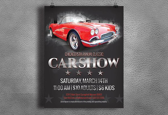 Car Show Flyer Vintage Classic Flyer Templates Creative Market - Car show flyer background