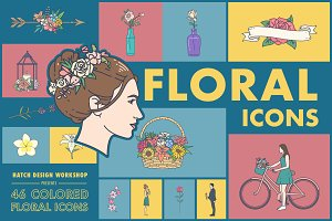 46 Colored Floral Icons - Flower