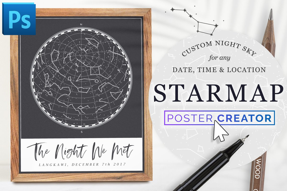 Star Map By Date And Location.Star Map Poster Creator Minimal Photoshop Add Ons Creative Market