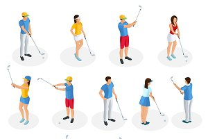 Isometric Golf Players Collection